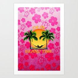 Pink Flowers Island Time Art Print
