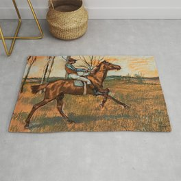 The Jockey By Edgar Degas | Reproduction | Famous French Painter Rug