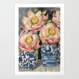 Pink Camillias Art Print