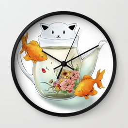 Flowering Tea in a Cat Teapot Wall Clock
