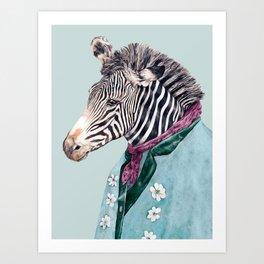 Zebra Blue Art Print