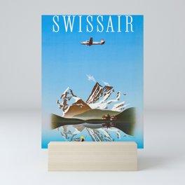 Alps - Vintage Swissair Travel Poster Mini Art Print