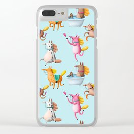 Cute and Whimsical Horse Pattern on Light Blue Clear iPhone Case