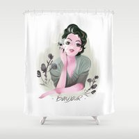 bonjour Shower Curtains featuring Bonjour by LisaArtWork