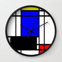 mondrian Wall Clocks featuring Mondrian by Fine2art