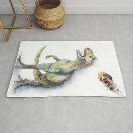 Watercolor hand drawn dinosaur Rug