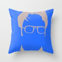 dwight schrute Throw Pillows featuring Dwight Schrute by Stacia Elizabeth