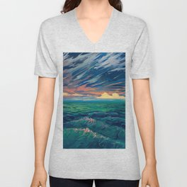 Sunset Above Ocean Waves Ultra HD Unisex V-Neck