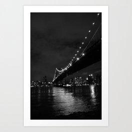 Manhattan Night Black & White Art Print