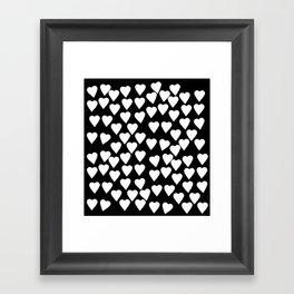 Hearts White on Black Framed Art Print