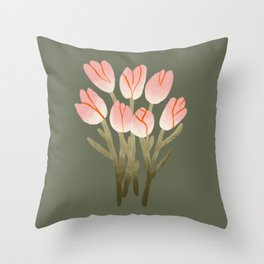 Tulip Drawing Throw Pillow