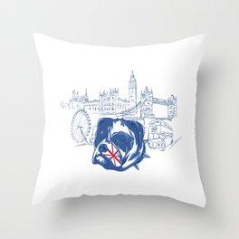 London English British Bulldog Throw Pillow