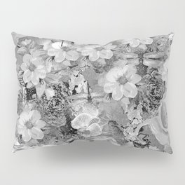 PARROTS MAGNOLIAS ROSES AND HYDRANGEAS TOILE PATTERN IN GRAY AND WHITE Pillow Sham