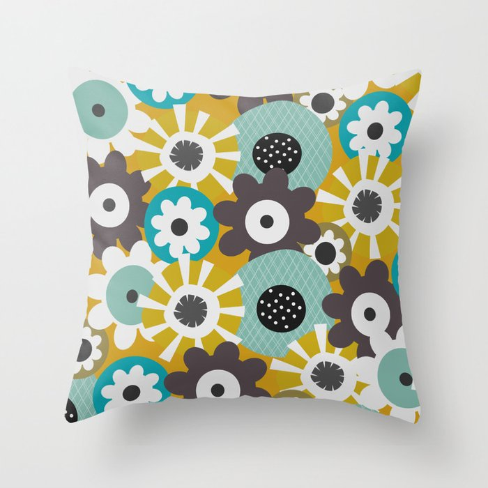 Sunny floral day Throw Pillow