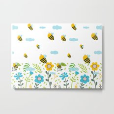 Bee Flaying Metal Print