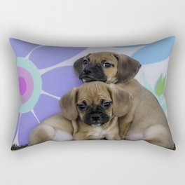 Two Puggle Puppies Cuddling in front of a Background with Hand-painted Daisy Flowers Rectangular Pillow