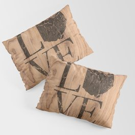 Ohio Map Home Love Wood Vintage Country Farmhouse Pillow Sham