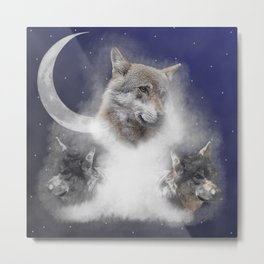 Wolves in the fog at night, wild animals Metal Print