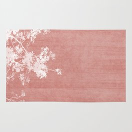Red Paint Stroke of Flowering Tree Foliage Rug