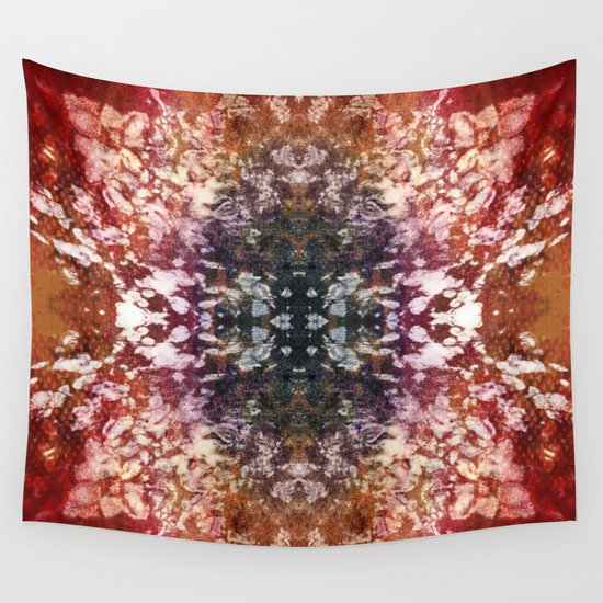 Amber and Red Burnout Kaleidoscope Lace Wall Tapestry