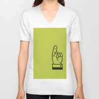 lime green V-neck T-shirts featuring Direction Lime Green by Claire Doherty
