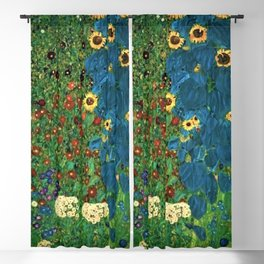 Farm Garden with Sunflowers and blue leaves by Gustav Klimt Blackout Curtain