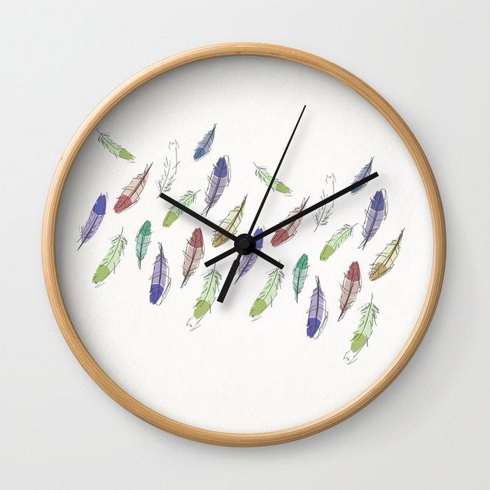 Falling Feathers Wall Clock