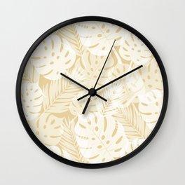 Tropical Shadows - Beige / White Wall Clock