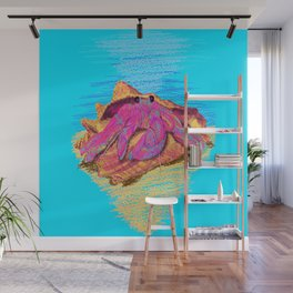 Colorful hermit crab in conch shell - Cyan Wall Mural