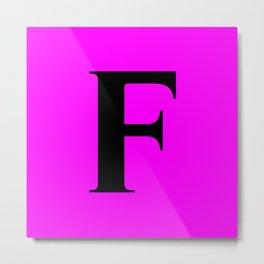 F MONOGRAM (BLACK & FUCHSIA) Metal Print