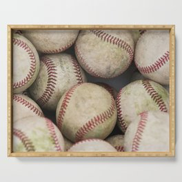 Many Baseballs - Background pattern Sports Illustration Serving Tray