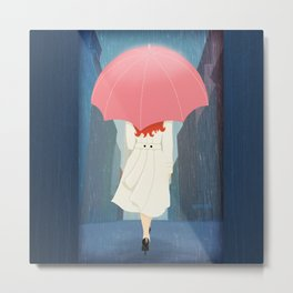 She Went Walking In The Rain Metal Print