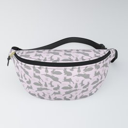Rabbit Pattern   Rabbit Silhouettes   Bunny Rabbits   Bunnies   Hares   Pink and Grey   Fanny Pack