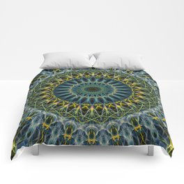 Blue and yellow mandala Comforters