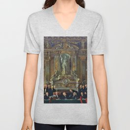 12,000pixel-500dpi - A Peace Conference at the Quai d'orsay - Sir William Orpen Unisex V-Neck