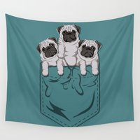 pocket Wall Tapestries featuring Pocket Pugs_Teal by Kellabell9