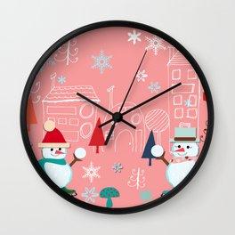 winter fun pink Wall Clock