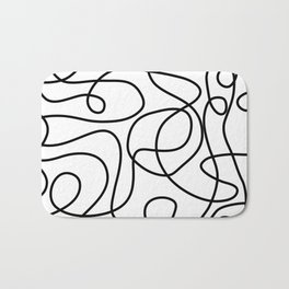 Doodle Line Art | Black on White Bath Mat