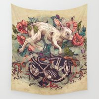bunny Wall Tapestries featuring Dust Bunny by Kate O'Hara Illustration