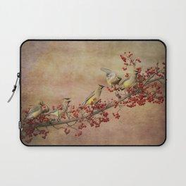 Cedar Waxwings Gathering Laptop Sleeve