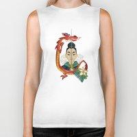 mulan Biker Tanks featuring Mulan Tattoo by Kathryn Hudson Illustrations