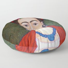 Frida portrait with dalias Floor Pillow