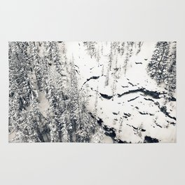 Snow on Textures of Pine Trees and Cliffs Rug