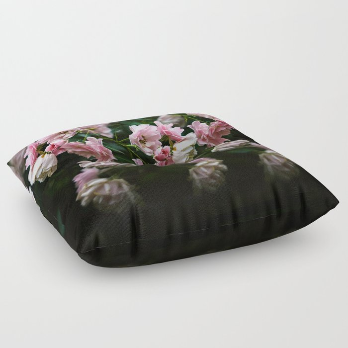 Pink Roses floral pattern Floor Pillow