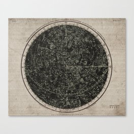 Constellations of the Northern Hemisphere on Vintage Paper Canvas Print