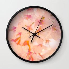Floral Photography. Japanese Sakura Pastel Flower Photo Print. Wall Clock