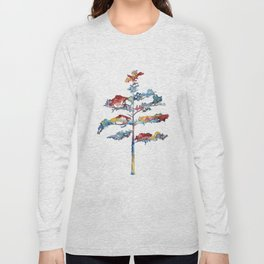 Pine tree #1 - multicoloured ink painting Long Sleeve T-shirt
