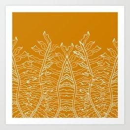 Fern Pattern Gold Yellow Ochre Art Print