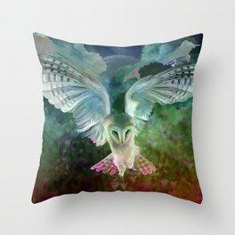 """Owl flight and spring night"" Throw Pillow"