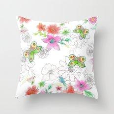 Butterflies in my garden Throw Pillow